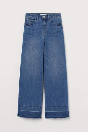 Wide Leg Cropped Jeans - Blue