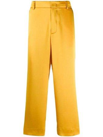 Yellow Sies Marjan satin cropped pants - Farfetch
