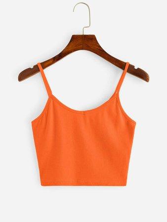 Neon Orange Crop Cami Top   SHEIN USA