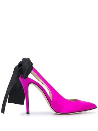 Alessandra Rich Bow Slingback Pumps - Farfetch