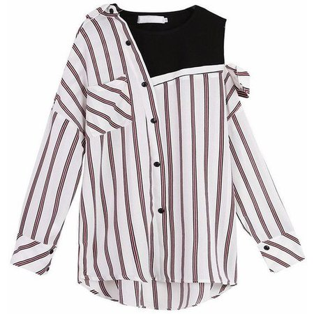 FAKE OFF SHOULDER STRIPED SHIRT KOREAN STYLE SUMMER 2017