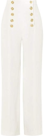 Button-detailed Crepe Wide-leg Pants - White
