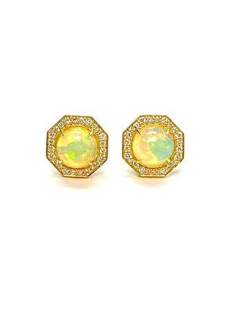 Goshwara Opal And Diamond Stud Earrings