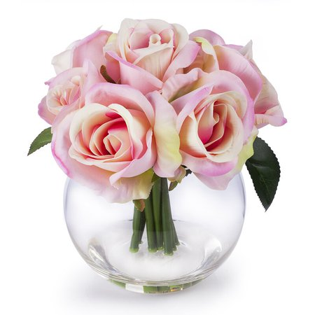 House of Hampton Pink Velet Rose Flower Arrangement In Clear Glass Vase With Faux Water   Wayfair