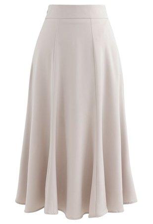 Satin A-Line Midi Skirt in Sand - Retro, Indie and Unique Fashion