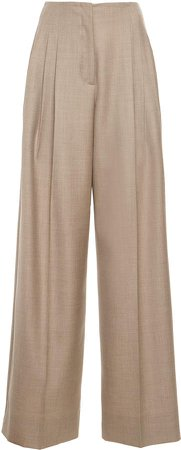 Agnona Flannel Wool-Blend Wide-Leg Pants