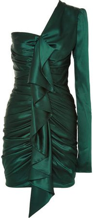 One-shoulder Ruched Silk-blend Satin Mini Dress - Emerald