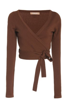 Michael Kors Collection Cropped Cashmere Wrap Top Size: XS
