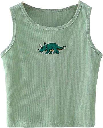 Avanova Women's Dinosaur Graphic Print Sleeveless Ribbed Knit Crop Tank Tops Green Small at Amazon Women's Clothing store