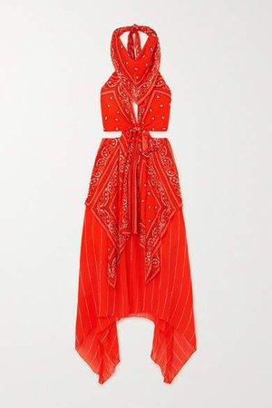 Asymmetric Cutout Printed Crepe De Chine Halterneck Midi Dress - Orange