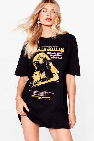 Janis Joplin Graphic Band Tee Dress   Nasty Gal