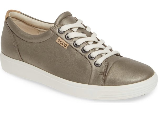 ECCO Stone Metallic Leather Sneakers