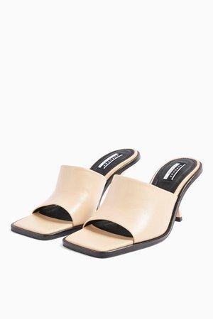 RADA Cream Leather Square Toe Mules   Topshop