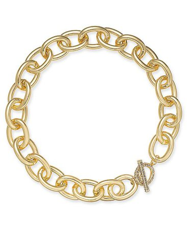 "Thalia Sodi Gold-Tone Pavé Large Link 18-1/2"" Collar Necklace, Created for Macy's & Reviews - Fashion Jewelry - Jewelry & Watches - Macy's"