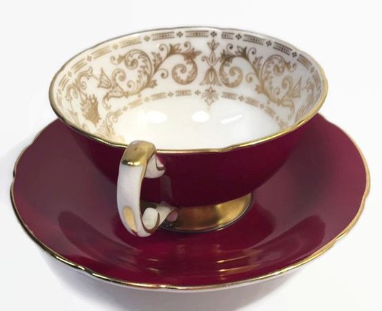 Red Gilded Teacup