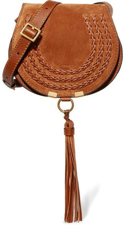 Marcie Mini Whipstitched Suede And Textured-leather Shoulder Bag - Tan