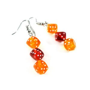 orange/red dice earrings