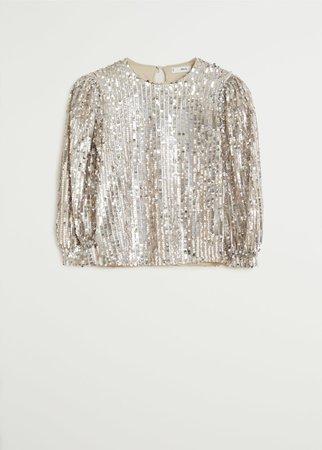 Sequin blouse - Women | Mango United Kingdom