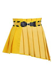 asymmetrical yellow skirt with peplum belt