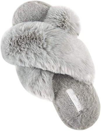 Amazon.com   HALLUCI Women's Cross Band Soft Plush Fleece House Indoor or Outdoor Slippers   Slippers