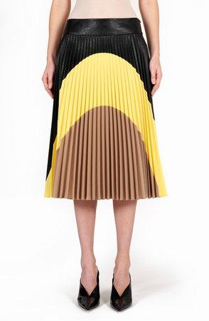 Carmen Pleated Faux Leather Skirt