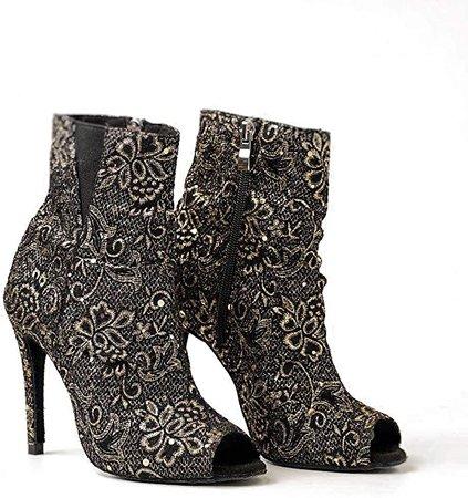 URYZE Women's Ballroom Dance Shoes Open Toe Gold Sequins