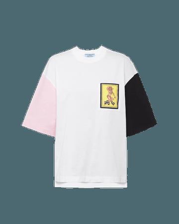 T-shirt in jersey e popeline   Prada - 3510A_1WKB_F0Z72_S_201