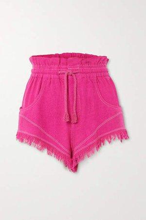 Talapiz Frayed Silk-tweed Shorts - Fuchsia