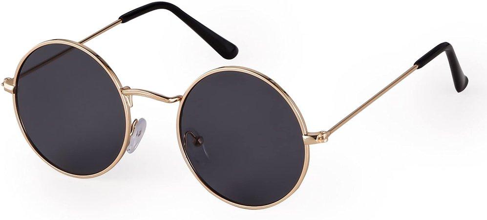 Amazon.com: Round Retro Sunglasses Men Women Vintage Small Circle Sun Glasses (A-Gold Frame/Grey Polarized Lens, 50): Clothing