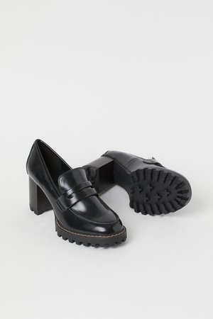 Block-heel loafers - Black - Ladies | H&M