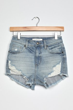 Light Blue Distressed Shorts - High-Waisted Shorts - Cutoff Short