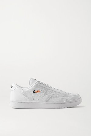 Court Vintage Embroidered Textured-leather Sneakers - White