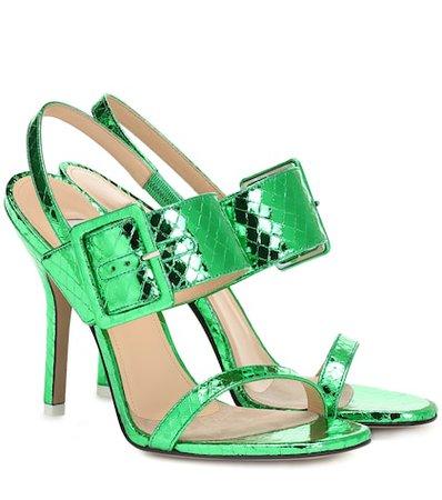 Embossed metallic leather sandals