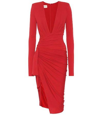 Long-sleeved stretch crêpe dress