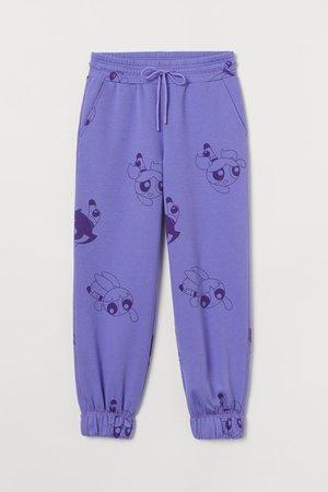 High Waist Sweatpants - Purple/The Powerpuff Girls - Ladies | H&M US