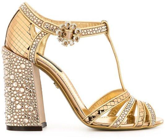 rhinestone-embellished T-strap sandals
