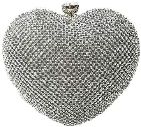 Abbie Home Heart Shaped Evening Bag Wedding Party Crystal Bridal Clutch (Silver): Handbags: Amazon.com