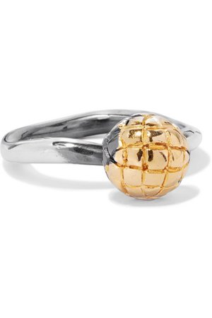 Bottega Veneta | Dichotomy gold-tone and oxidized silver ring | NET-A-PORTER.COM