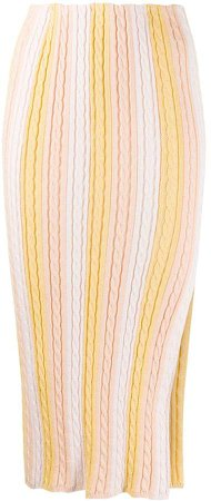 Front Slit Knitted Skirt
