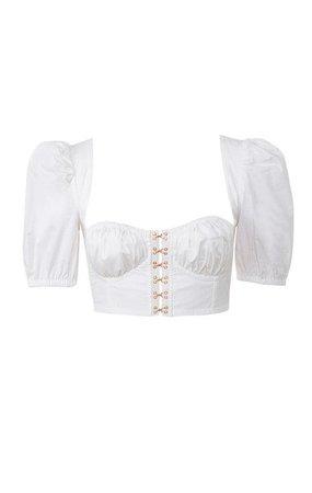 'Tia' White Puff Sleeved Corset Top