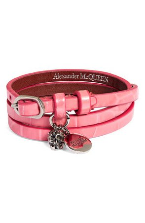 Alexander McQueen Pavé Skull Charm Croc Embossed Leather Wrap Bracelet | Nordstrom
