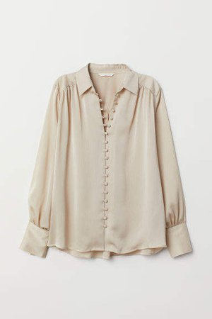Long-sleeved Blouse - Beige