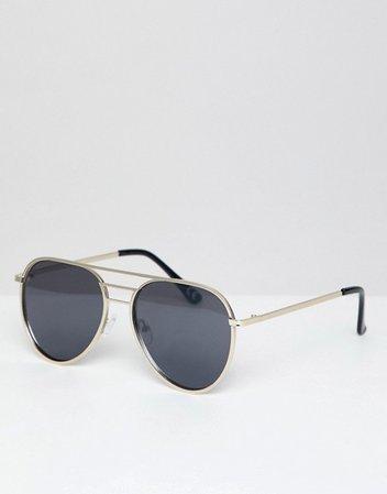 Солнцезащитные очки-авиаторы в стиле 70-х с планкой ASOS DESIGN | ASOS