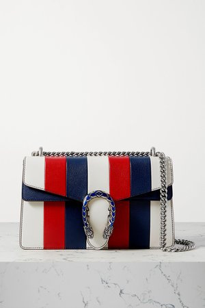 Red Dionysus small striped leather shoulder bag | Gucci | NET-A-PORTER