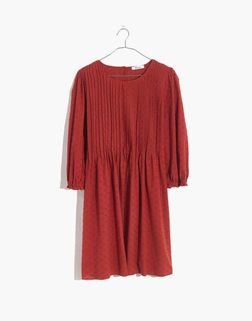 Embroidered Pintuck Mini Dress red