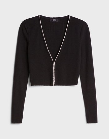 Cardigan with diamanté detail - Sweaters and Cardigans - Woman | Bershka