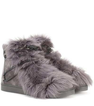 Inuit fur-trimmed suede ankle boots