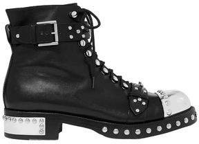 Hobnail Studded Leather Ankle Boots