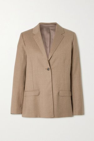 Beige Wool-blend flannel blazer | Totême | NET-A-PORTER