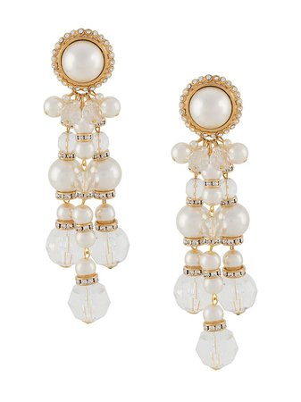 Alessandra Rich mother-of-pearl Drop clip-on Earrings - Farfetch